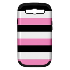 Black, Pink And White Stripes  By Celeste Khoncepts Com 20x28 Samsung Galaxy S III Hardshell Case (PC+Silicone) by Khoncepts