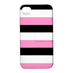 Black, Pink And White Stripes  By Celeste Khoncepts Com 20x28 Apple Iphone 4/4s Hardshell Case With Stand by Khoncepts