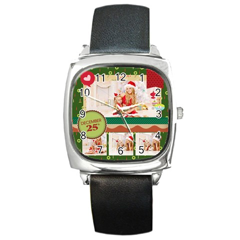 Xmas By Xmas4   Square Metal Watch   Acvofq61s7px   Www Artscow Com Front