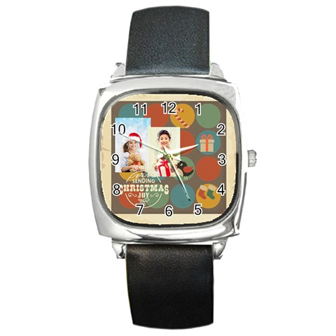 Xmas By Xmas4   Square Metal Watch   080rqajvhxp4   Www Artscow Com Front