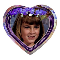 Purple Bleedingheart Heart Ornament Two Sides By Chere s Creations   Heart Ornament (two Sides)   Ovyjhysq5ei5   Www Artscow Com Front