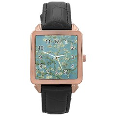 Vincent Van Gogh, Almond Blossom Rose Gold Leather Watch  by Oldmasters