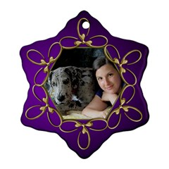 Pup Purple And Gold Snowflake  Ornament (2 Sided) By Deborah   Snowflake Ornament (two Sides)   F3mel12o24ew   Www Artscow Com Front