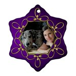 Pup Purple and Gold Snowflake  Ornament (2 sided) - Snowflake Ornament (Two Sides)