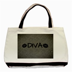 Diva Blk Glitter Lips Twin Sided Black Tote Bag by OCDesignss