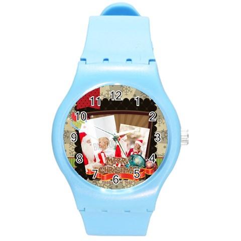 Xmas By Xmas   Round Plastic Sport Watch (m)   4uktob5jxnn2   Www Artscow Com Front
