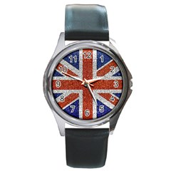 England Flag Grunge Style Print Round Leather Watch (silver Rim) by dflcprints