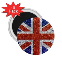 England Flag Grunge Style Print 2 25  Button Magnet (10 Pack) by dflcprints