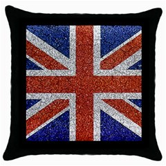 England Flag Grunge Style Print Black Throw Pillow Case by dflcprints
