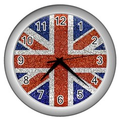 England Flag Grunge Style Print Wall Clock (silver) by dflcprints