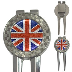 England Flag Grunge Style Print Golf Pitchfork & Ball Marker by dflcprints