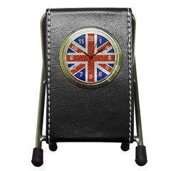 England Flag Grunge Style Print Stationery Holder Clock by dflcprints