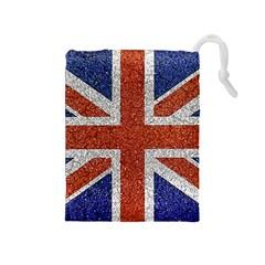 England Flag Grunge Style Print Drawstring Pouch (Medium) by dflcprints