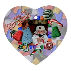 Baby s First Christmas Heart Ornament Two Sides By Chere s Creations   Heart Ornament (two Sides)   Etih4pr2h5ts   Www Artscow Com Back