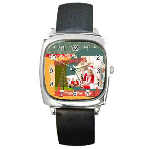 Xmas By Xmas   Square Metal Watch   G7b63823ei0l   Www Artscow Com Front