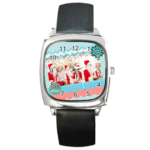 Xmas By Xmas   Square Metal Watch   Cakeasp3tc81   Www Artscow Com Front