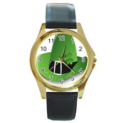 Irish Shamrock Hat152049 640 Round Leather Watch (gold Rim)  by Colorfulart23