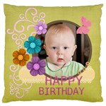 birthday - Large Flano Cushion Case (One Side)