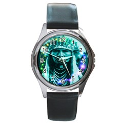 Magical Indian Chief Round Leather Watch (silver Rim) by icarusismartdesigns