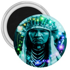 Magical Indian Chief 3  Button Magnet by icarusismartdesigns