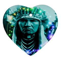 Magical Indian Chief Heart Ornament by icarusismartdesigns
