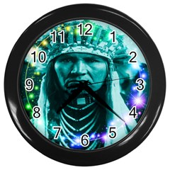 Magical Indian Chief Wall Clock (black) by icarusismartdesigns