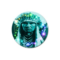 Magical Indian Chief Magnet 3  (round) by icarusismartdesigns