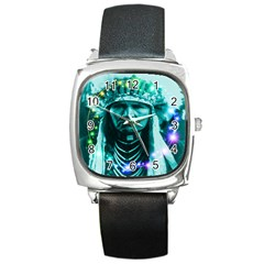 Magical Indian Chief Square Leather Watch by icarusismartdesigns