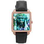 Magical Indian Chief Rose Gold Leather Watch  Front