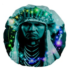 Magical Indian Chief 18  Premium Flano Round Cushion  by icarusismartdesigns