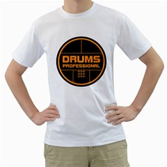 Drums Professional Men s T-Shirt (White)  by goodmusic