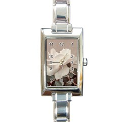 White Rose Vintage Style Photo In Ocher Colors Rectangular Italian Charm Watch by dflcprints
