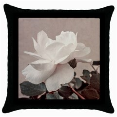 White Rose Vintage Style Photo In Ocher Colors Black Throw Pillow Case by dflcprints