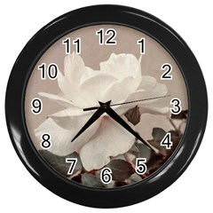 White Rose Vintage Style Photo In Ocher Colors Wall Clock (black) by dflcprints