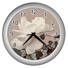 White Rose Vintage Style Photo In Ocher Colors Wall Clock (silver) by dflcprints