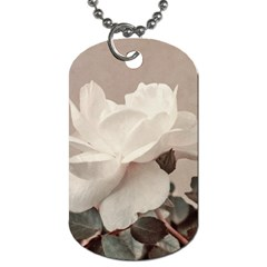 White Rose Vintage Style Photo In Ocher Colors Dog Tag (two Sided)  by dflcprints