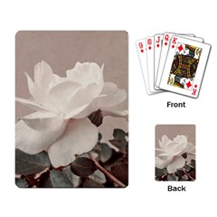 White Rose Vintage Style Photo In Ocher Colors Playing Cards Single Design by dflcprints