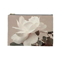 White Rose Vintage Style Photo In Ocher Colors Cosmetic Bag (large) by dflcprints