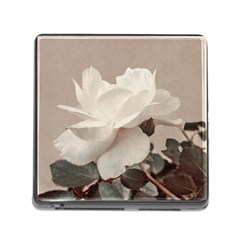 White Rose Vintage Style Photo In Ocher Colors Memory Card Reader With Storage (square) by dflcprints