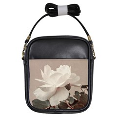 White Rose Vintage Style Photo In Ocher Colors Girl s Sling Bag by dflcprints