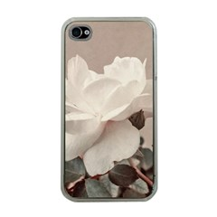 White Rose Vintage Style Photo In Ocher Colors Apple Iphone 4 Case (clear) by dflcprints