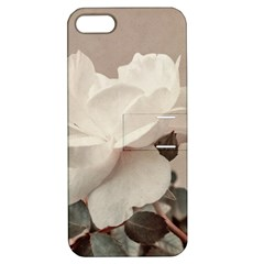 White Rose Vintage Style Photo In Ocher Colors Apple Iphone 5 Hardshell Case With Stand by dflcprints