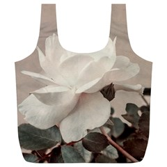 White Rose Vintage Style Photo In Ocher Colors Reusable Bag (xl) by dflcprints