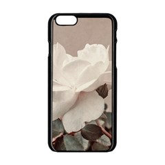 White Rose Vintage Style Photo In Ocher Colors Apple Iphone 6 Black Enamel Case by dflcprints