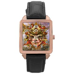 Star Clown Rose Gold Leather Watch  by icarusismartdesigns