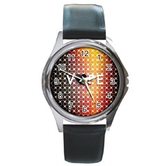 Vape Retro Pattern  Round Leather Watch (silver Rim) by OCDesignss