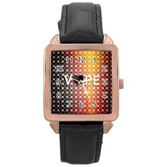 Vape Retro Pattern  Rose Gold Leather Watch  by OCDesignss