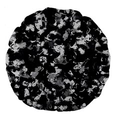 Shades Of Gray  And Black Oils #1979 18  Premium Flano Round Cushion