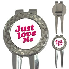 Just Love Me Text Typographic Quote Golf Pitchfork & Ball Marker by dflcprints