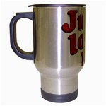 Just Love Me Text Typographic Quote Travel Mug (Silver Gray) Left